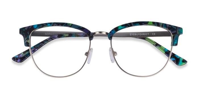 Blue Floral & Silver Sophisticated -  Acetate, Metal Eyeglasses