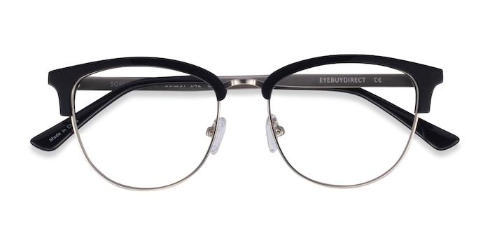 Black & Silver Sophisticated -  Acetate, Metal Eyeglasses