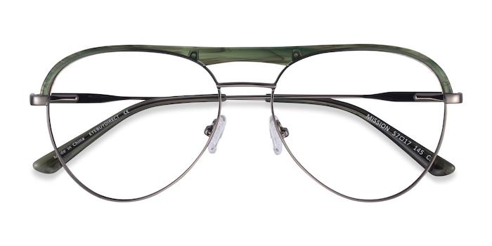Green Striped & Gunmetal Mission -  Acetate, Metal Eyeglasses