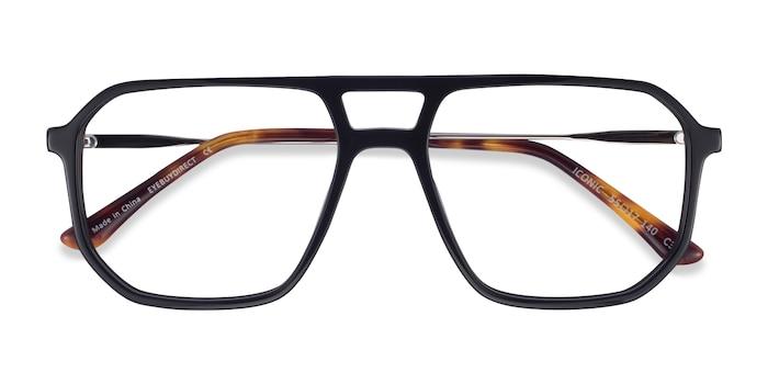 Black & Silver Iconic -  Acetate, Metal Eyeglasses