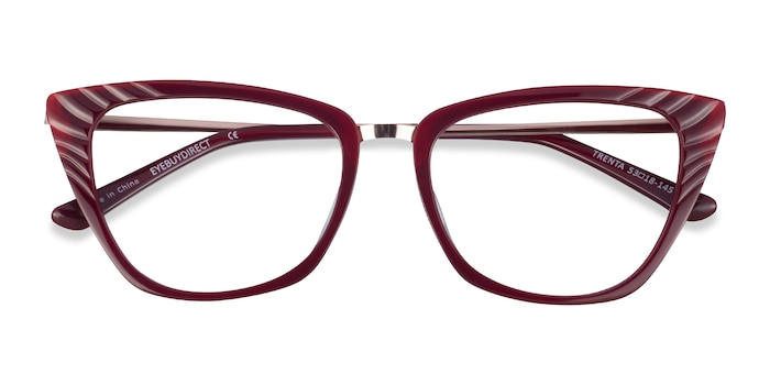 Burgundy Gold Trenta -  Fashion Acetate Eyeglasses