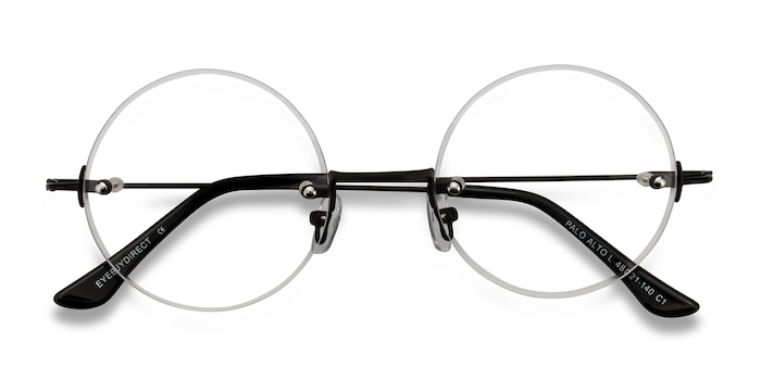 Black Palo Alto -  Vintage Metal Eyeglasses
