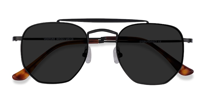 Black Venture -  Vintage Metal Sunglasses