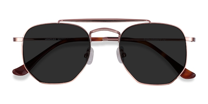 Rose Gold Venture -  Vintage Metal Sunglasses