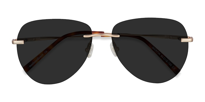 Matte Gold Martin -  Metal Sunglasses