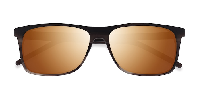 Matte Striped Brown Catch -  Acétate Lunettes de soleil