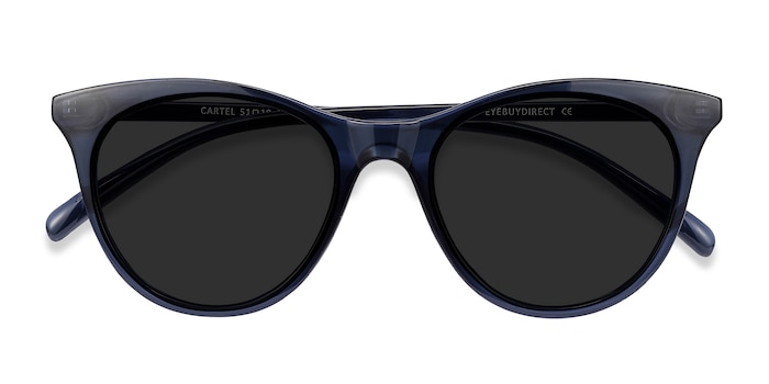 Clear Navy Cartel -  Plastic Sunglasses