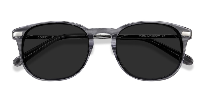 Gray Striped Council -  Acetate Sunglasses