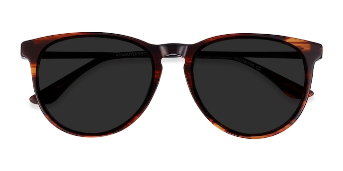 Brown Striped Sun Ultraviolet -  Acetate Sunglasses
