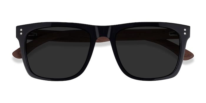 Black & Wood Grow -  Wood Texture Sunglasses