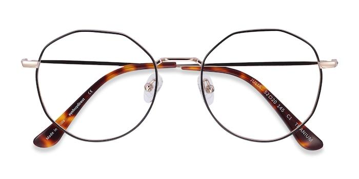 Black & Gold Julia -  Vintage Titanium Eyeglasses