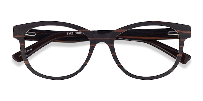 Striped Dark Wood Botany -  Wood Texture Eyeglasses