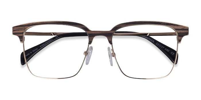 Gold & Striped Woord Evergreen -  Classic Wood Texture Eyeglasses