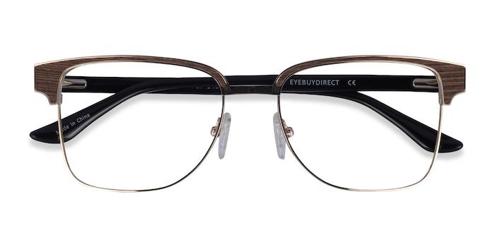 Gold, Black & Wood Biome -  Classic Acetate Eyeglasses