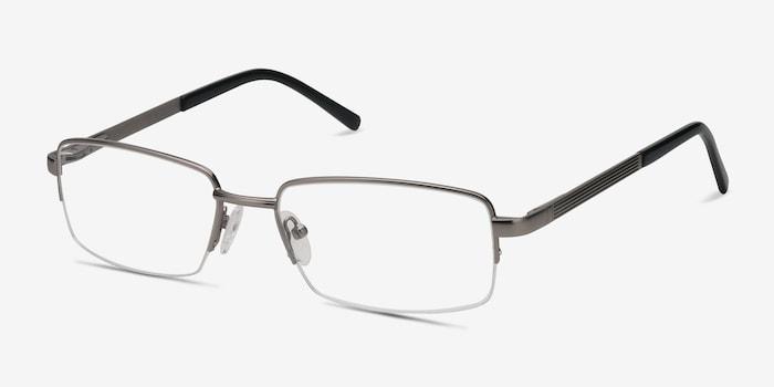 Axis Gunmetal Metal Eyeglass Frames from EyeBuyDirect, Angle View