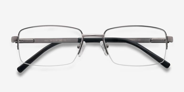 Axis Gunmetal Metal Eyeglass Frames from EyeBuyDirect, Closed View