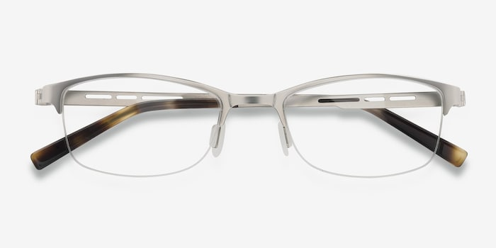 Pearl Silver Metal Eyeglass Frames from EyeBuyDirect, Closed View