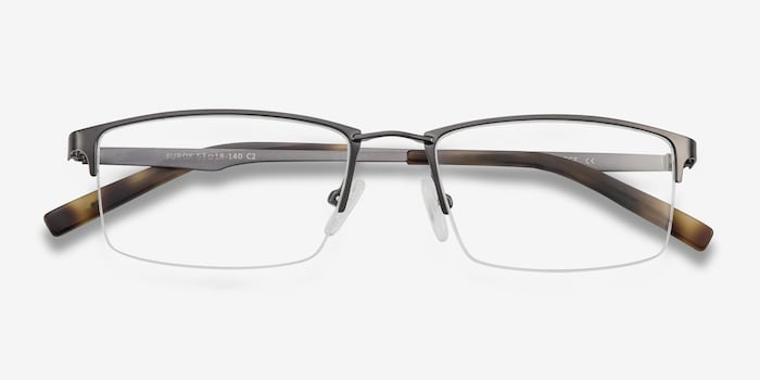 Furox Gunmetal Metal Eyeglass Frames from EyeBuyDirect, Closed View
