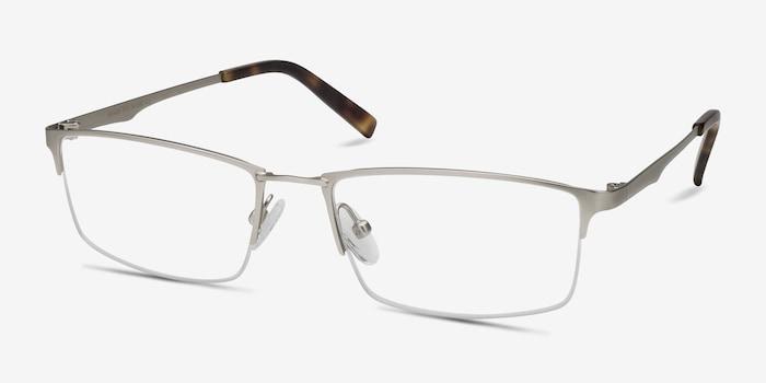 Furox Silver Metal Eyeglass Frames from EyeBuyDirect, Angle View