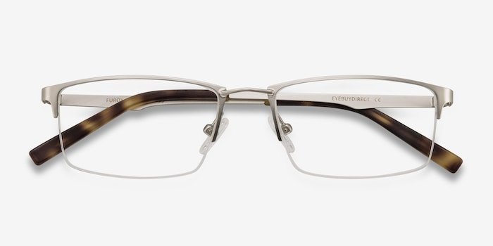 Furox Silver Metal Eyeglass Frames from EyeBuyDirect, Closed View