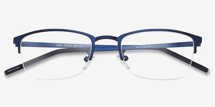 Argil Matte Navy Metal Eyeglass Frames from EyeBuyDirect, Closed View