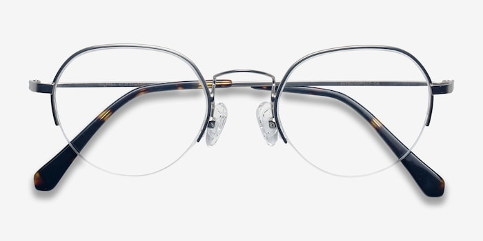 Kalpana Silver Metal Eyeglass Frames from EyeBuyDirect, Closed View