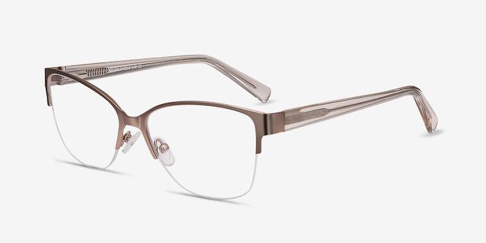 Feline Pink Golden Acetate Eyeglass Frames from EyeBuyDirect, Angle View