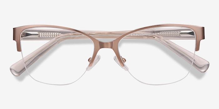Feline Pink Golden Acetate Eyeglass Frames from EyeBuyDirect, Closed View
