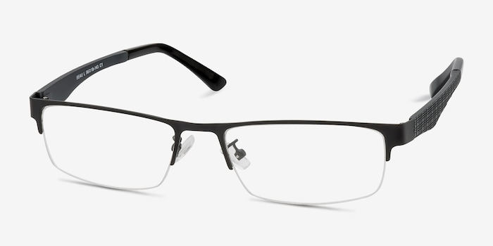 Beau Black Metal Eyeglass Frames from EyeBuyDirect, Angle View