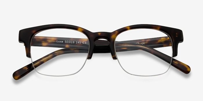 Luxe Tortoise Acetate Eyeglass Frames from EyeBuyDirect, Closed View