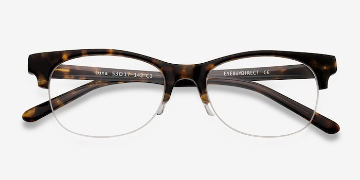Luna Tortoise Acetate Eyeglass Frames from EyeBuyDirect, Closed View