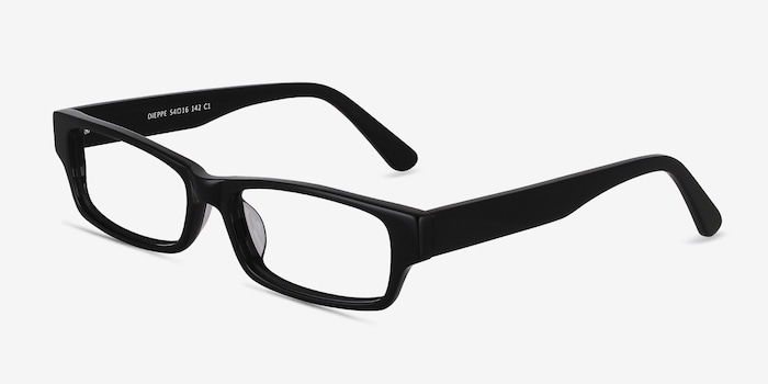 Dieppe Black Acetate Eyeglass Frames from EyeBuyDirect, Angle View