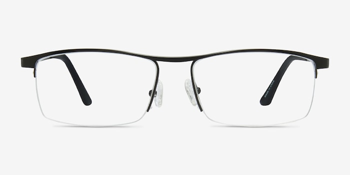 Lake Black Titanium Eyeglass Frames from EyeBuyDirect, Front View