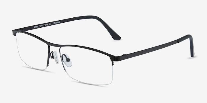Lake Black Titanium Eyeglass Frames from EyeBuyDirect, Angle View