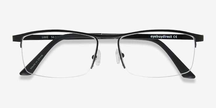 Lake Black Titanium Eyeglass Frames from EyeBuyDirect, Closed View