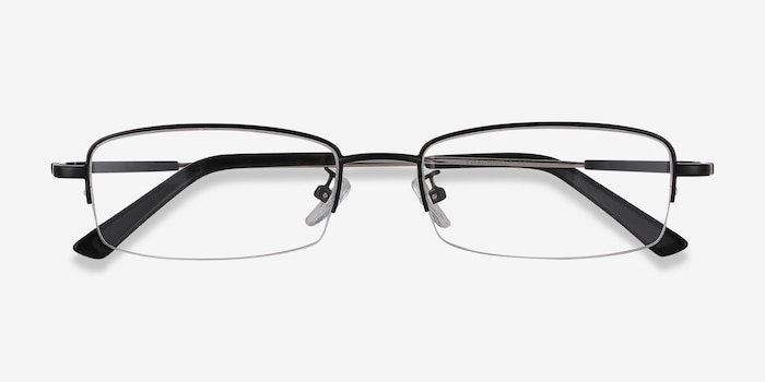Penticton Black Metal Eyeglass Frames from EyeBuyDirect, Closed View