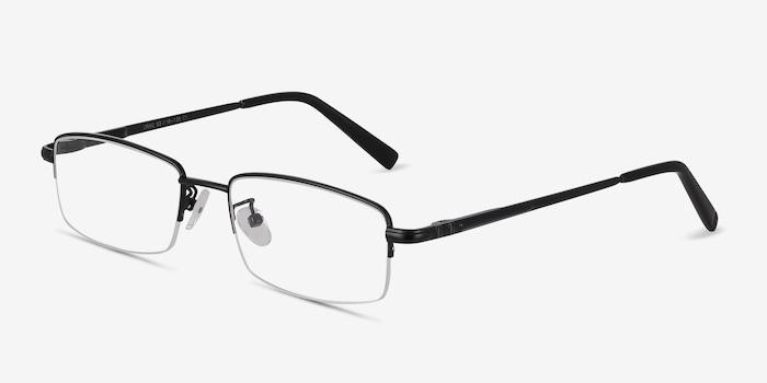 Craig Black Metal Eyeglass Frames from EyeBuyDirect, Angle View
