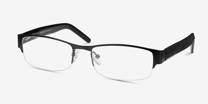Chilliwack Black Metal Eyeglass Frames from EyeBuyDirect, Angle View