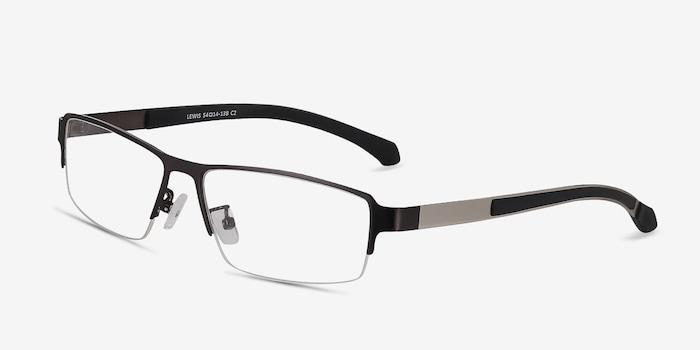Lewis Gunmetal Metal Eyeglass Frames from EyeBuyDirect, Angle View