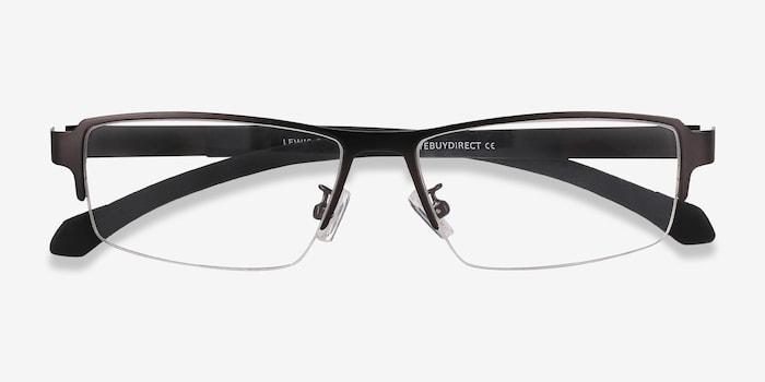 Lewis Gunmetal Metal Eyeglass Frames from EyeBuyDirect, Closed View