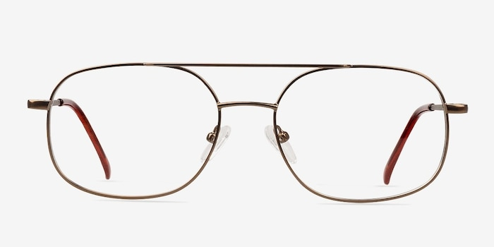 Branson Bronze Metal Eyeglass Frames from EyeBuyDirect, Front View