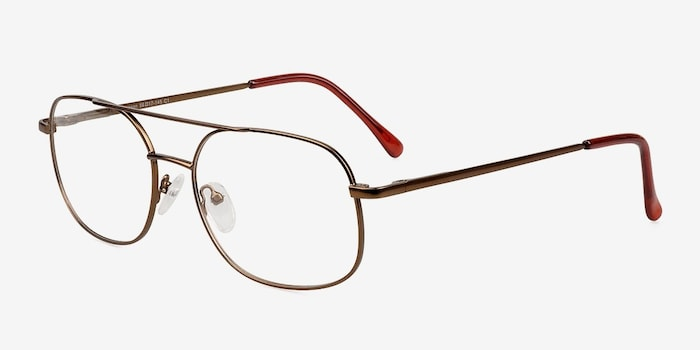 Branson Bronze Metal Eyeglass Frames from EyeBuyDirect, Angle View