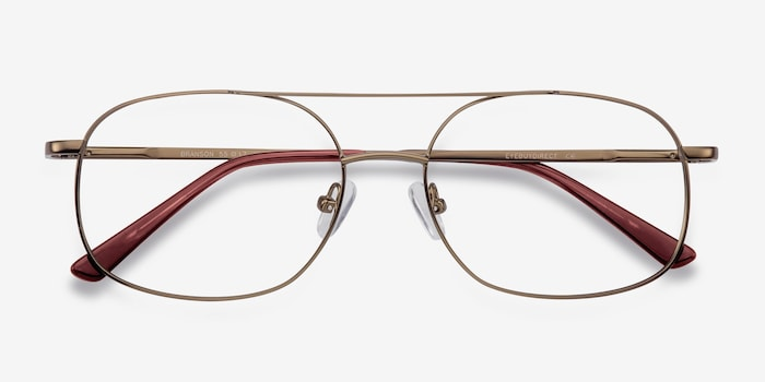 Branson Bronze Metal Eyeglass Frames from EyeBuyDirect, Closed View