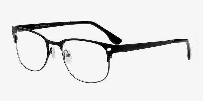 Merrion Black Metal Eyeglass Frames from EyeBuyDirect, Angle View