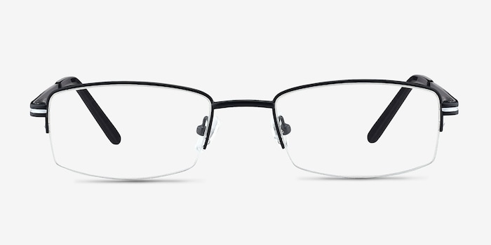Brian Black Metal Eyeglass Frames from EyeBuyDirect, Front View