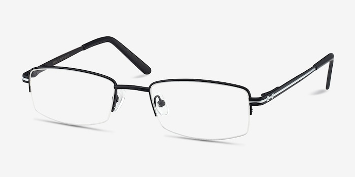 Brian Black Metal Eyeglass Frames from EyeBuyDirect, Angle View