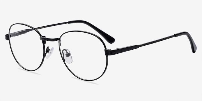 Belleville Matte Black  Metal Eyeglass Frames from EyeBuyDirect, Angle View