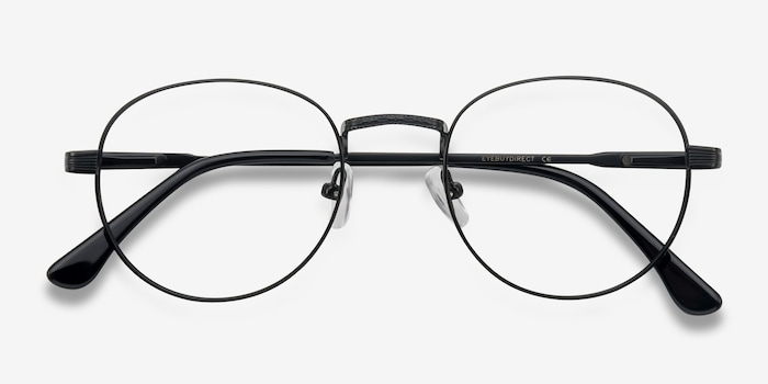 Belleville Matte Black  Metal Eyeglass Frames from EyeBuyDirect, Closed View