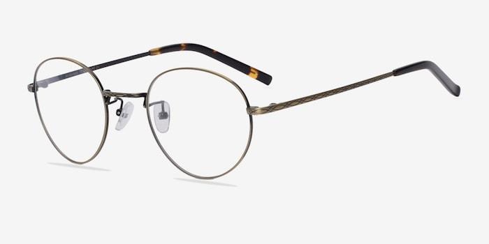 Amsterdam Bronze Metal Eyeglass Frames from EyeBuyDirect, Angle View