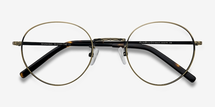 Amsterdam Bronze Metal Eyeglass Frames from EyeBuyDirect, Closed View